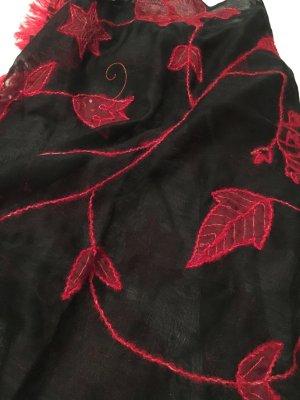 Zijden sjaal rood-zwart