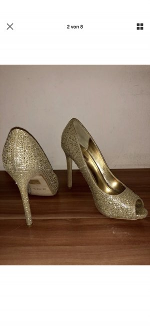 Super Schicke peeptoes Pumps highheels Gold Glitzer 38 jumex