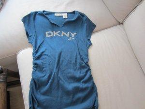 Super schickes figurbetonendes Shirt mit Glitzeraufschrift von DKNY Gr. M