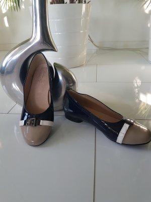 Andrea Conti Patent Leather Ballerinas taupe-dark blue