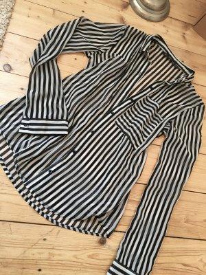 Zara Blouse transparente blanc-noir tissu mixte