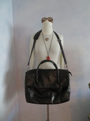 Catwalk Laptop bag black-silver-colored leather