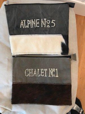 Pochette noir-violet daim