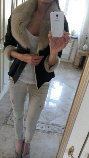 Giacca di pelliccia beige-nero