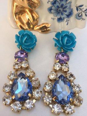 super schöne glitzer Ohrringe blau Silber
