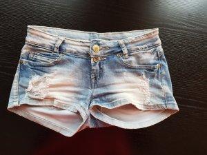 Hot pants bianco-azzurro