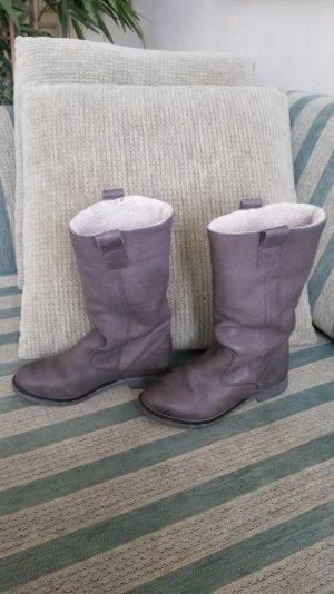 Super schöne leder boots grau wie neu!