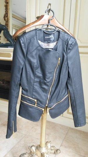 super schöne neue Lederjacke schwarz/gold Größe 34/36!