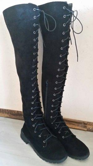 Super schöne schwarze neue Schnür - Overknees Stiefel