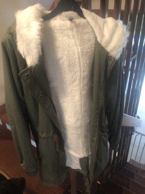 Giacca di pelliccia bianco-cachi
