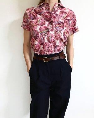Vintage Short Sleeved Blouse white-pink