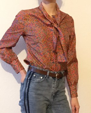 Vintage Blusa collo a cravatta multicolore