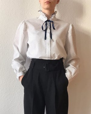 Vintage Stand-Up Collar Blouse white-blue