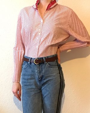 Vintage Stand-Up Collar Blouse white-red
