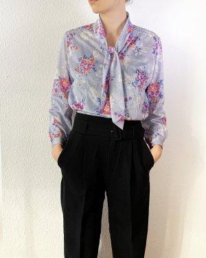 Vintage Blusa collo a cravatta multicolore