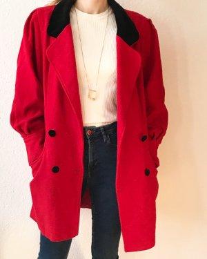 Super schöner eleganter Blazer/ Jacke- in rot mit abgesetzten Samtkragen/ Samtknöpfen