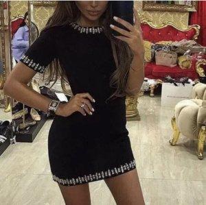 Super schönes elegantes Kleid in schwarz Bandage Kristallen Gr.S, Neu.