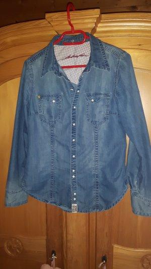 Super schönes Jeanshemd mit Emaille-Köpfen von Blue Fire