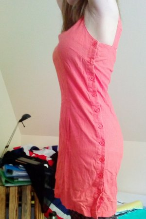 Sheath Dress apricot-neon orange linen