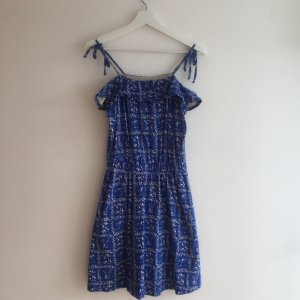 & other stories Beach Dress blue-oatmeal cotton