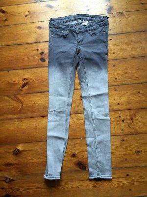 Super Skinny Low Jeans H&M Grau mit Farbverlauf