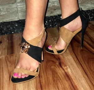 High Heel Sandal bronze-colored-black leather