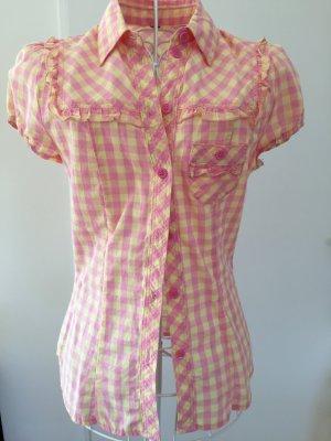 Super Süße Bluse gelb rosa kariert