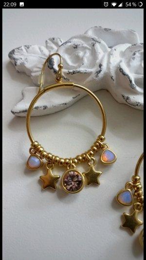 Super süße Ohrhänger von Pilgrim,Regenbogen, Perlmutt,Opal-Look,Gold,Neu
