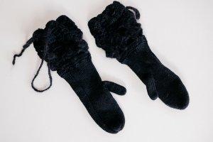Super süße Strick-/Häkel-Handschuhe schwarz Fäustlinge warm