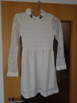 super süßes kurzes Kleid weiße Spitze 36