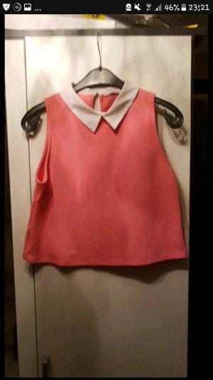 Zara T-shirt blanc-rose
