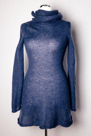Super Süßes Rollkragen-Mini-Kleid - dunkelblau - Strick - Kuschelig - Gr. 34/36 S
