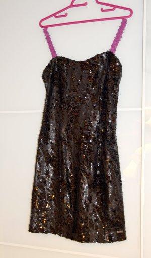 Super süßes schwarzes Glitzer Mini-Kleid von Guess, S, Trägerlos