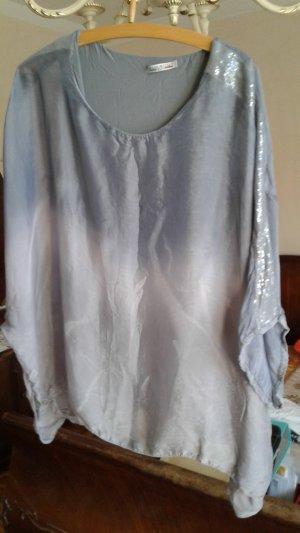 Blusa ancha color plata-azul celeste