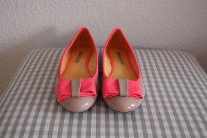 Super trendige BUFFALO Ballerinas, nude, neon-pink, Lack
