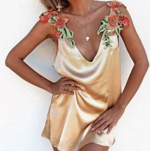 Super Tunika Kleid in gr 38-40 Neu Apricot Blumen Glanz