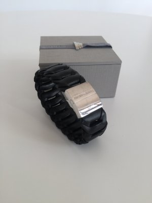 Emporio Armani Bracelet en cuir argenté-noir cuir