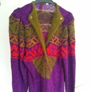 Super Vintage Strickjacke Cardigan Strickmantel Grün Lila Angola Viscose Muster gr  L ,M