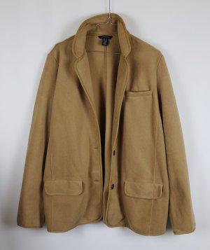 Super weich Fleece Long Blazer Jacke Lands`End Größe XL 42 Beige Camel Kuschel Landhaus Reiter Look Polarfleece