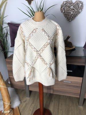 Mango Coarse Knitted Sweater cream-brown