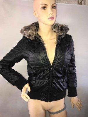 Super Winter Jackein Leder Look in gr 38 Farbe Schwarz Fell Neu mit Etikett