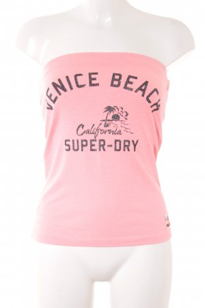 Superdry Bandeau top lichtrood gedrukte letters casual uitstraling