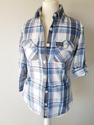 SUPERDRY Bluse/Hemd, kariert, Gr.S, blau/weiß, 3/4Arm