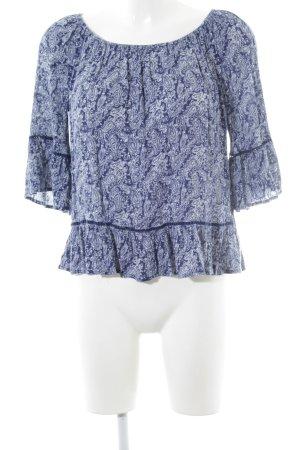 Superdry Carmen blouse blauw-wit paisley patroon Boho uitstraling