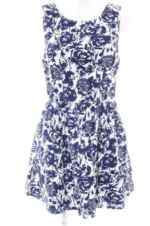 Superdry Cocktailkleid wollweiß-dunkelblau florales Muster Elegant