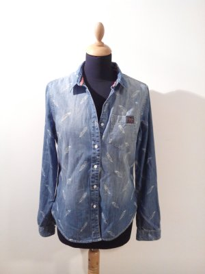 superdry denimshirt denim bluse hemdweiss fein print jeanshemd feder