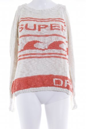 Superdry Grobstrickpullover wollweiß-lachs Casual-Look