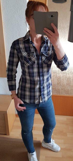 Superdry Hemd Bluse Karohemd 3/4 Arm Blau-weiß S