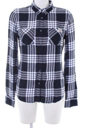 Superdry Holzfällerhemd dunkelblau-weiß Karomuster Casual-Look