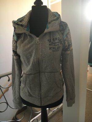 SuperDry hoodie grau Strick norwegermuster Sweatjacke Sweatshirt